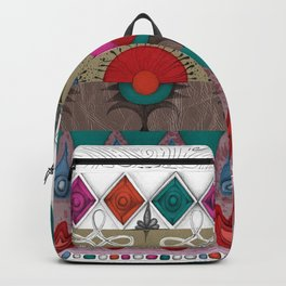 the rhyme of repetitive elements - fire, water, flower, air Backpack