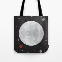 the moon Tote Bags featuring Moon by FLATOWL