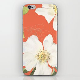 vintage flowers coral iPhone Skin