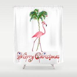 Merry Christmas Pink Flamingo Beach Xmas Shower Curtain