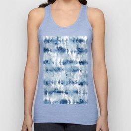 Modern hand painted dark blue tie dye batik watercolor Unisex Tank Top