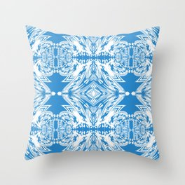 Blue and White Classy Psychedelic Throw Pillow