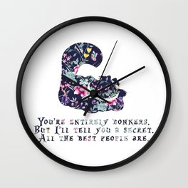Alice floral designs - Cheshire cat entirely bonkers Wall Clock