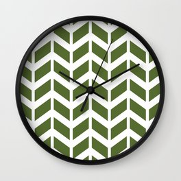 Olive green and white chevron pattern Wall Clock