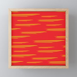 Fiery Red and Orange Paint Brush Strokes Framed Mini Art Print