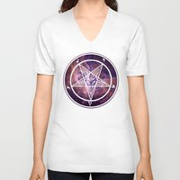 pentagram V-neck T-shirts featuring Pentagram Galaxy by Parin Cashmony