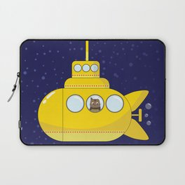 Yellow submarine in deep sea with a cat and bubbles Laptop Sleeve