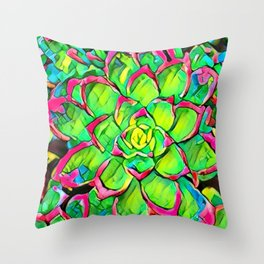 Candied Succulent Throw Pillow