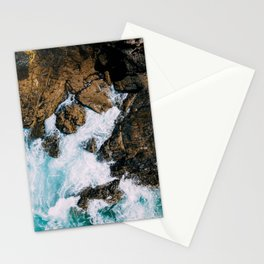 Ocean Waves Crushing On Rocky Landscape, Drone Photography, Aerial Landscape Photo, Ocean Wall Art Stationery Cards