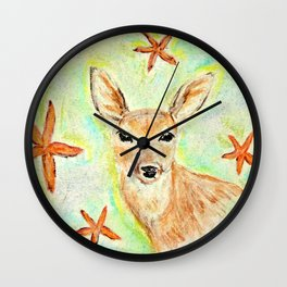 Fawn and starfish illustration Wall Clock
