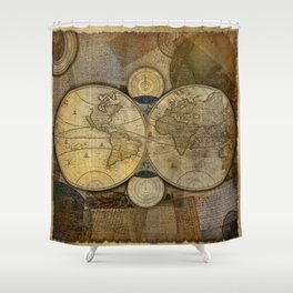 """Vintage paper & Maps (burlap texture)"" Shower Curtain"