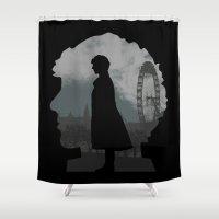 sherlock holmes Shower Curtains featuring Sherlock Holmes world by BomDesignz