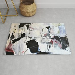 Many Road Abstract Contemporary Artwork Lines Marks Pink Black White Rug