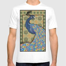 PEACOCK MEDIUM White Mens Fitted Tee