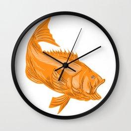 Largemouth bass divin Wall Clock