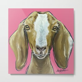 Goat Art, Farm Animal Painting, Cute Animal Art Metal Print