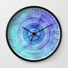 Blue Turquoise And Purple Watercolor Mandala Art Wall Clock