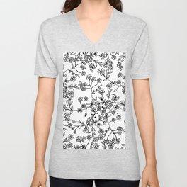 Hand painted black and white floral arrangements Unisex V-Neck