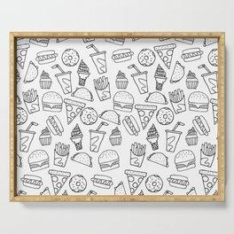 Fast Food Monoline Doodles Serving Tray