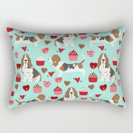 Basset Hound valentines day cute gifts for dog lover pet portrait dog breed custom illustration Rectangular Pillow