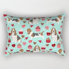 Basset Hound valentines day cute gifts for dog lover pet portrait dog breed custom illustration Rectangular Pillow