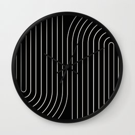Minimal Line Curvature - Black and White II Wall Clock