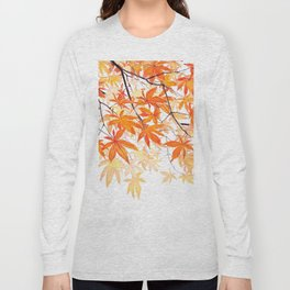 orange maple leaves watercolor Long Sleeve T-shirt