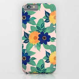 Pretty Blue Yellow floral and foliage pink Design iPhone Case