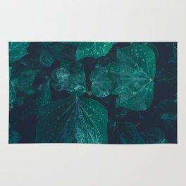 Dark emerald green ivy leaves water drops Rug