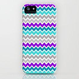 Teal Turquoise Blue Purple Grey Gray Chevron  iPhone Case