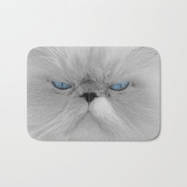 White Angry Cat Bath Mat