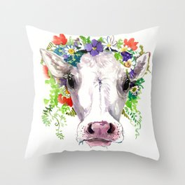 Cow and Flowers, Cow head floral Farm cattle head famr animals Throw Pillow