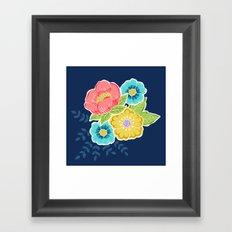 Floral Beauty - Midnight Framed Art Print