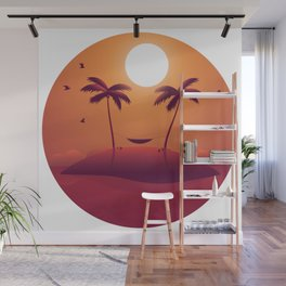 Sunset island and palms Wall Mural