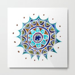 Color Star Mandala in Blue Metal Print