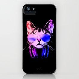 DJ Cat in Neon iPhone Case