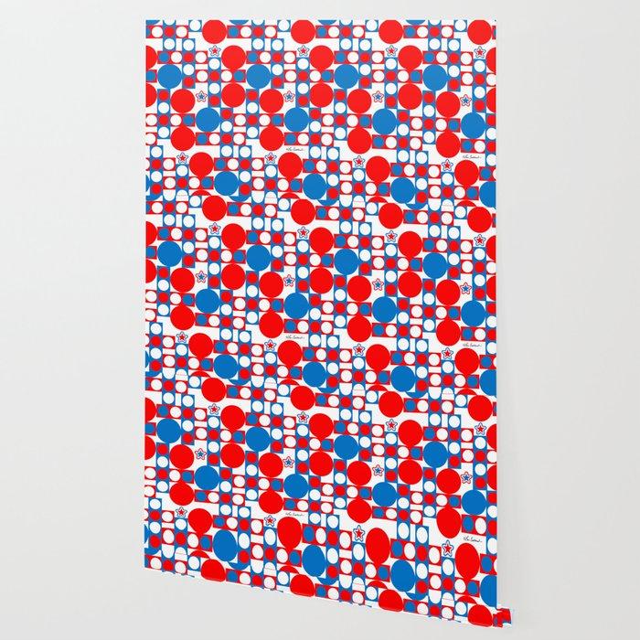 Red White & Blue Patriotic Modern Print Wallpaper