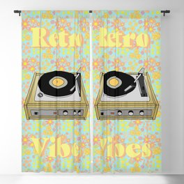 Retro Vibes Record Player Design in Yellow Blackout Curtain