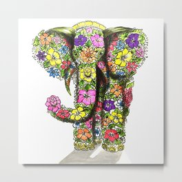 Ornate Elephant Coloured Metal Print