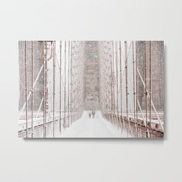 Brooklyn Bridge Snow Metal Print