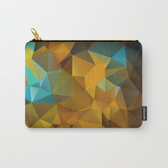 Polygon geometric abstract pattern in blue and yellow tones . Carry-All Pouch