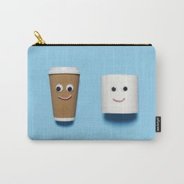 Happy toilet paper and coffee on blue Carry-All Pouch