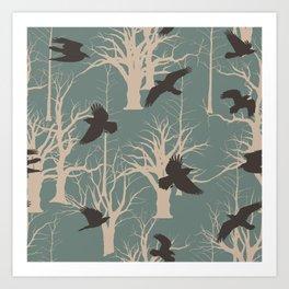 Birds in flight on park Art Print