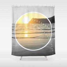 Port Erin - circle graphic Shower Curtain