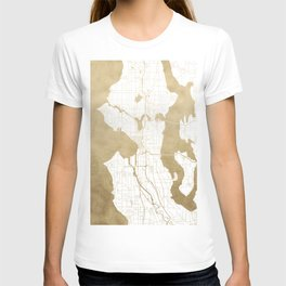 Seattle White and Gold Map T-shirt