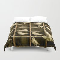 pigeon Duvet Covers featuring Pigeon Holed by Chris Lord