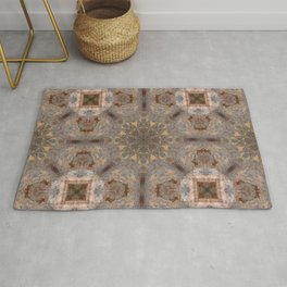 Copper Brown Terracotta Mandala and Tile Rug