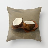 coconut wishes Throw Pillows featuring Coconut by cinema4design