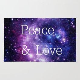 Peace & Love Space purple blue Rug