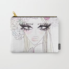 Floral girl Portrait Carry-All Pouch